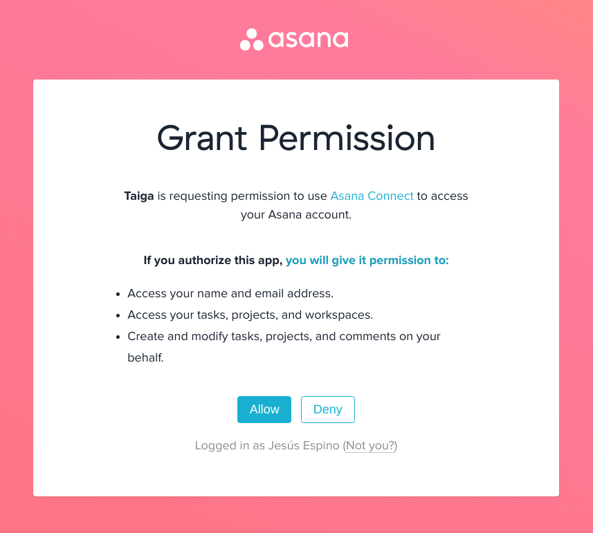 Authorize access to asana